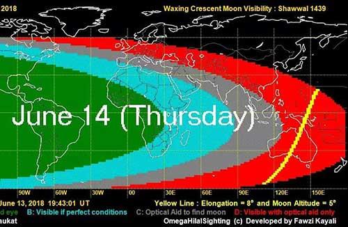 6月14日晚全球多地可见新月,15日为开斋节第一天